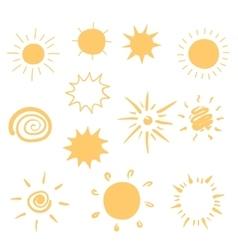 Set of hand-drawn sun icons vector image
