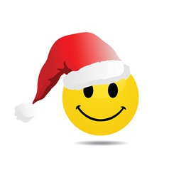 Smiley face with santa hat vector image vector image