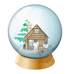 Snowmen inside the crystal ball vector