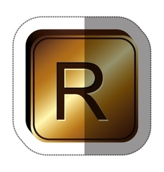 Sticker golden square with currency symbol of rand vector