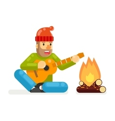 Traveler Sings Plays Guitar Campfire Flat Design vector image