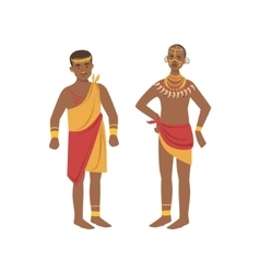 Twomen in loincloth from african native tribe vector