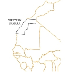 Western sahara hand-drawn sketch map vector