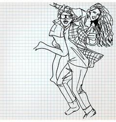 Young couple having fun sketch vector