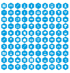 100 natural disasters icons set blue vector