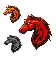 Fire horse stallion heraldic emblems vector