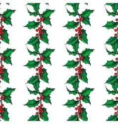 Mistletoe christmas seamless pattern hand vector
