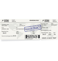 template of boarding pass tickets vector image