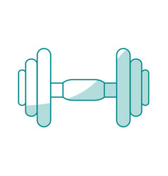 blue silhouette shading dumbbell for training in vector image