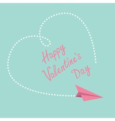 Flying paper plane Big heart Valentines Day vector image