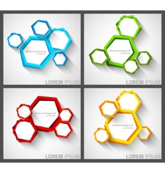Set of background with hexagons vector