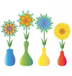 Flowers in vases vector
