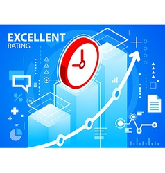 Bright excellent rating and clock on blue ba vector