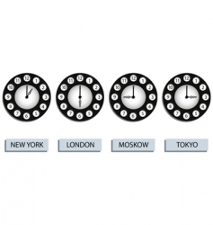 Time zone clocks vector