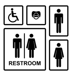 Restroom icons with menwomen lady man vector