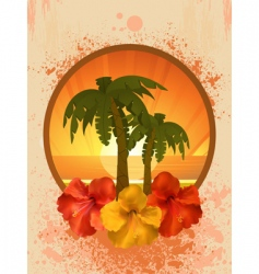 Hibiscus flowers and palm trees vector