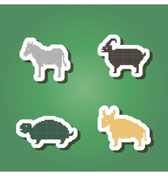 Color icons with wild animals vector