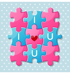 Jigsaw puzzle pieces with words i love you vector