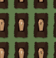 Top view of cemetery seamless pattern coffins vector