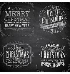 merry christmas emblems chalk2 vector image