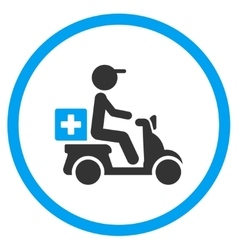 Drugs motorbike delivery rounded icon vector