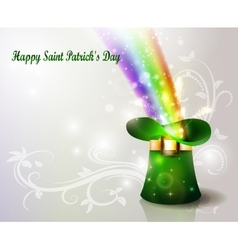 St patricks day green hat with rainbow vector
