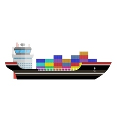 Commercial container ship vector