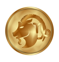 Capricorn gold medallion drive vector