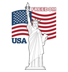 Statue of liberty and american flag symbol of vector