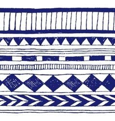 Seamless hand-draw tribal ink pattern vector