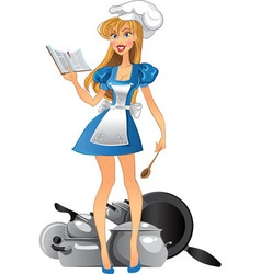 Yong kitchen mistress vector image