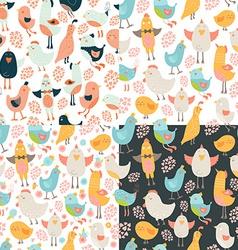 Cute birds seamless background set vector image vector image