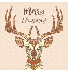 Deer head with ornament Merry Christmas vector image vector image