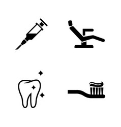 Dentist simple related icons vector