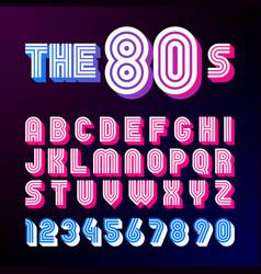 eighties style retro font vector image vector image