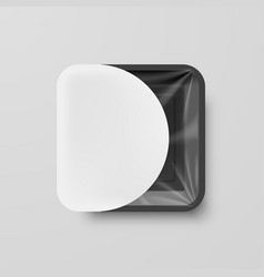 Empty black plastic food square container with vector