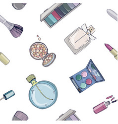 Fashion cosmetics seamless pattern with make up vector