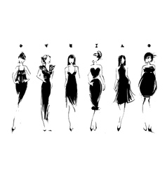 Fashion models in sketch style Collection of vector image vector image