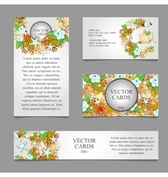 Four cards with texture of sea animals vector