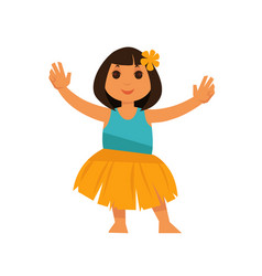 girl from hawaii in straw skirt and blue shirt vector image vector image