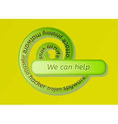 Green spiral label with we can help vector