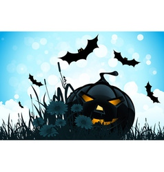 Halloween Background with Flowers and Pumpkin vector image vector image