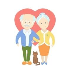 Happy cute old couple - grandma and grandpa vector