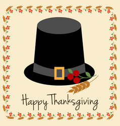 Happy thanksgiving with pilgrim hat vector