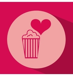 Heart red cartoon pop corn icon design vector