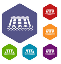 Hydroelectric power station icons set hexagon vector