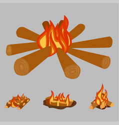 Isolated of campfire logs burning vector