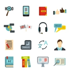 Learning foreign languages icons set flat style vector