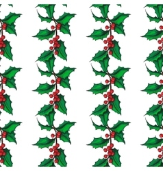 Mistletoe christmas seamless pattern hand vector