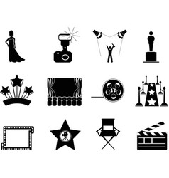 movie and oscar symbol icons vector image